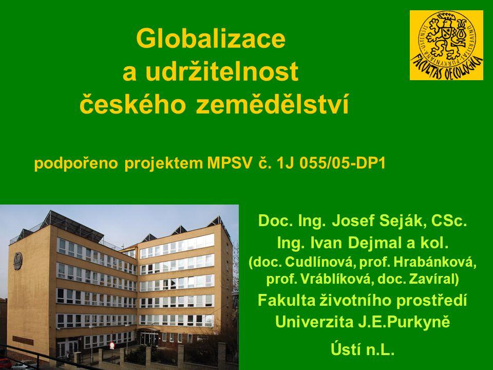 Globalizace a udržitelnost českého zemědělství podpořeno projektem MPSV č. 1J 055/05-DP1