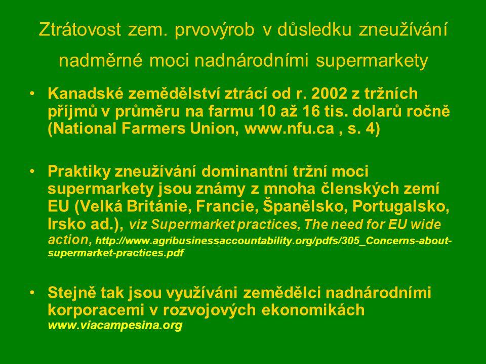 Ztrátovost zem. prvovýrob v důsledku zneužívání nadměrné moci nadnárodními supermarkety