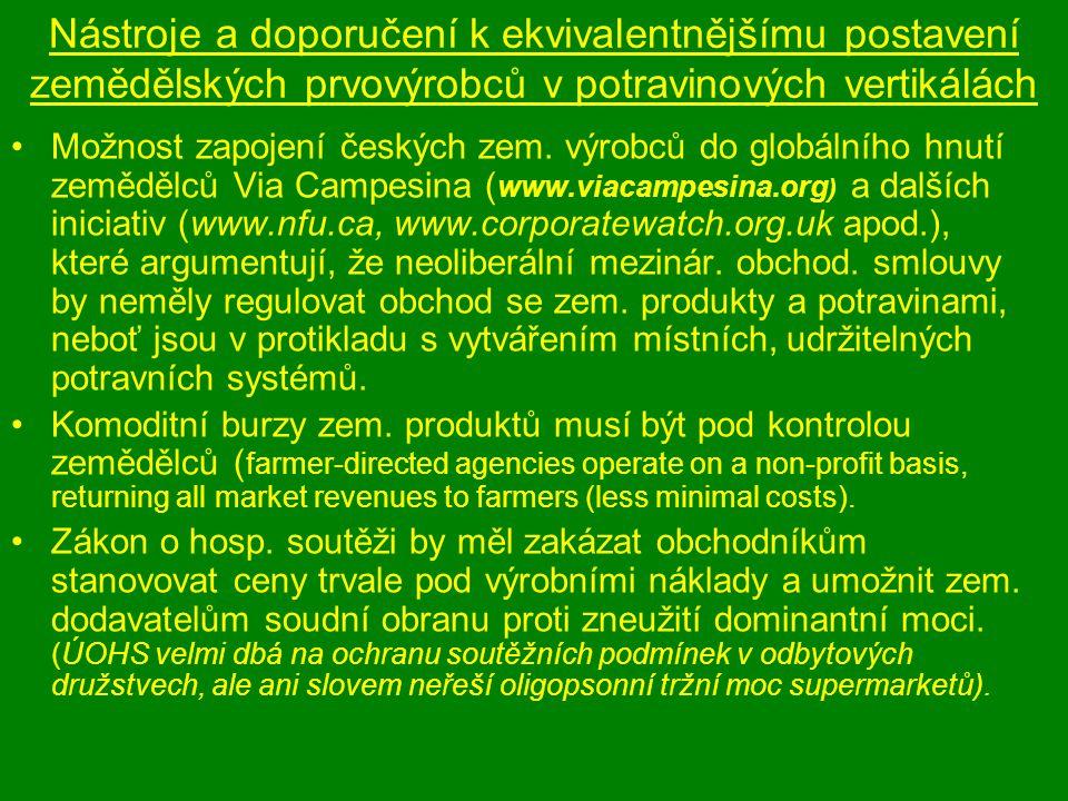 Nástroje a doporučení k ekvivalentnějšímu postavení zemědělských prvovýrobců v potravinových vertikálách