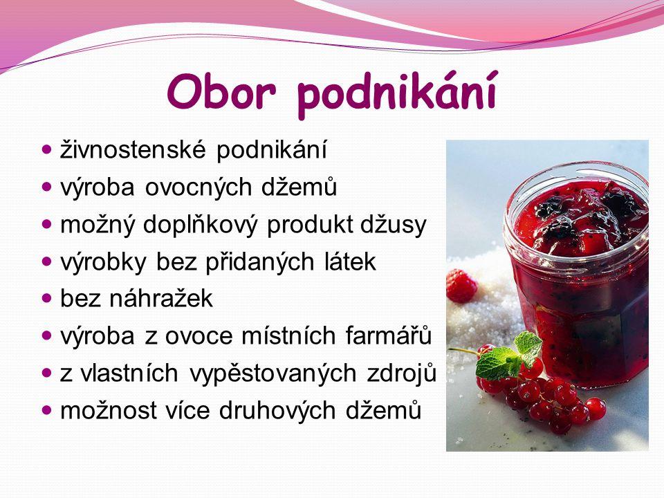 Obor podnikání živnostenské podnikání výroba ovocných džemů