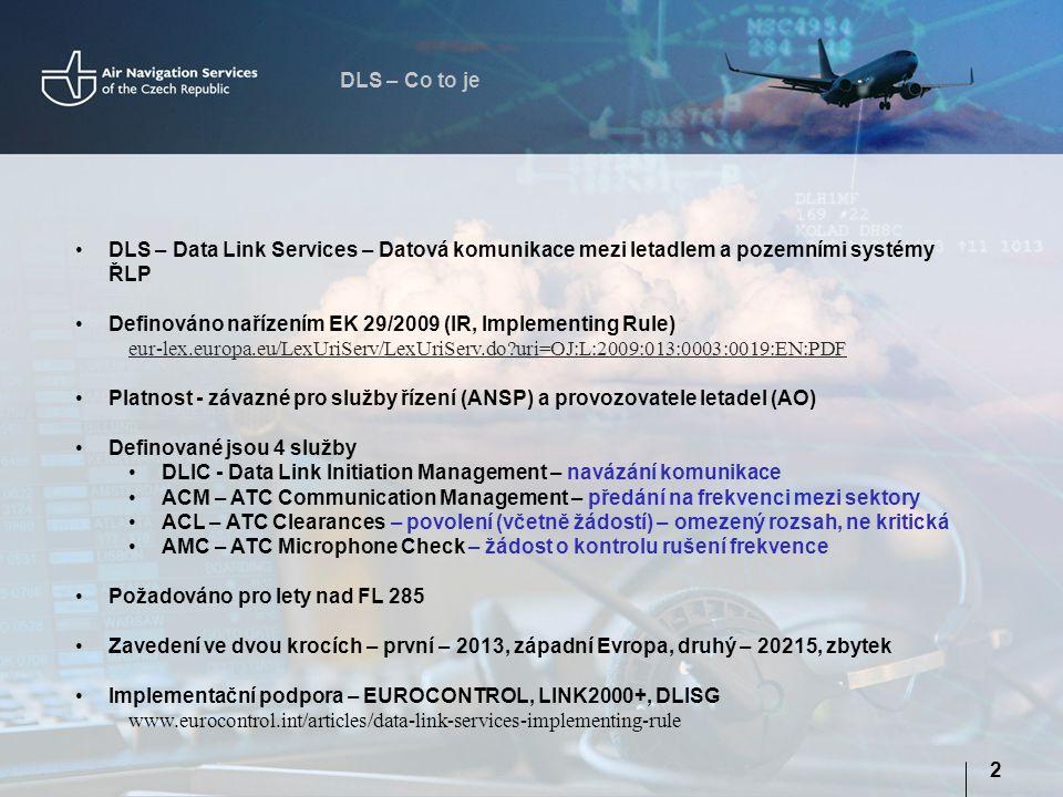 DLS – Co to je DLS – Data Link Services – Datová komunikace mezi letadlem a pozemními systémy ŘLP.