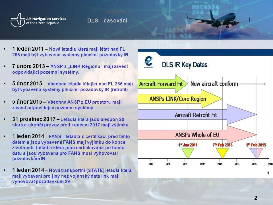 DLS – časování 1 leden 2011 – Nová letadla která mají létat nad FL 285 mají být vybavena systémy plnícími požadavky IR.