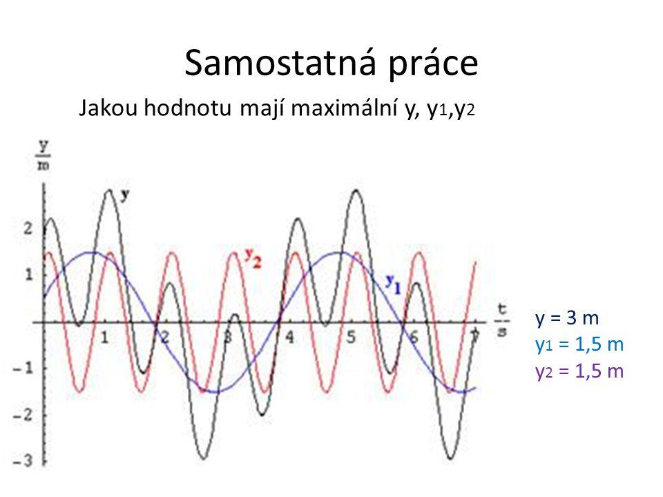 Samostatná práce Jakou hodnotu mají maximální y, y1,y2 y = 3 m