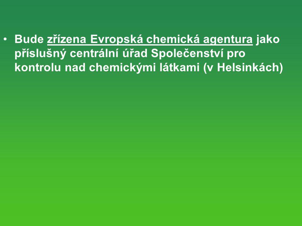 Bude zřízena Evropská chemická agentura jako příslušný centrální úřad Společenství pro kontrolu nad chemickými látkami (v Helsinkách)