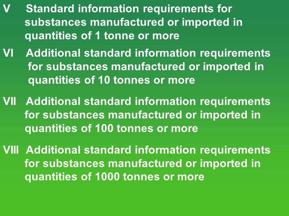 V Standard information requirements for
