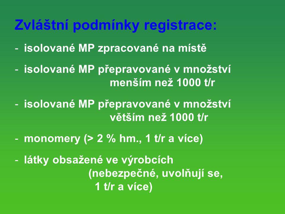 Zvláštní podmínky registrace:
