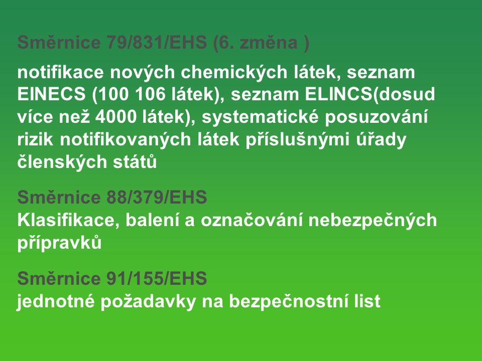 Směrnice 79/831/EHS (6. změna )