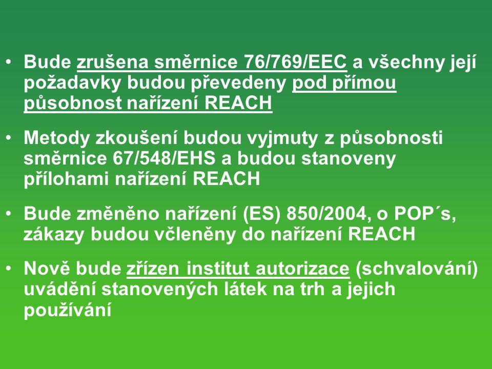 Bude zrušena směrnice 76/769/EEC a všechny její požadavky budou převedeny pod přímou působnost nařízení REACH