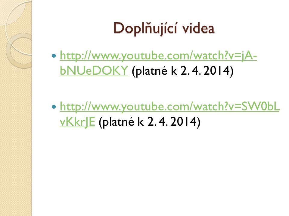 Doplňující videa http://www.youtube.com/watch v=jA- bNUeDOKY (platné k 2.