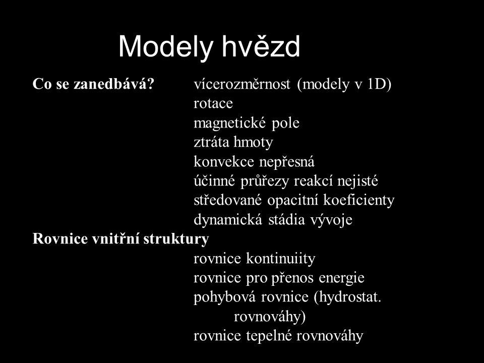 Modely hvězd Co se zanedbává vícerozměrnost (modely v 1D) rotace