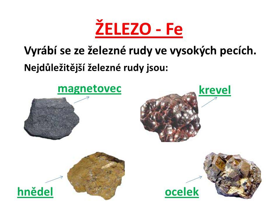 ŽELEZO - Fe Vyrábí se ze železné rudy ve vysokých pecích. magnetovec