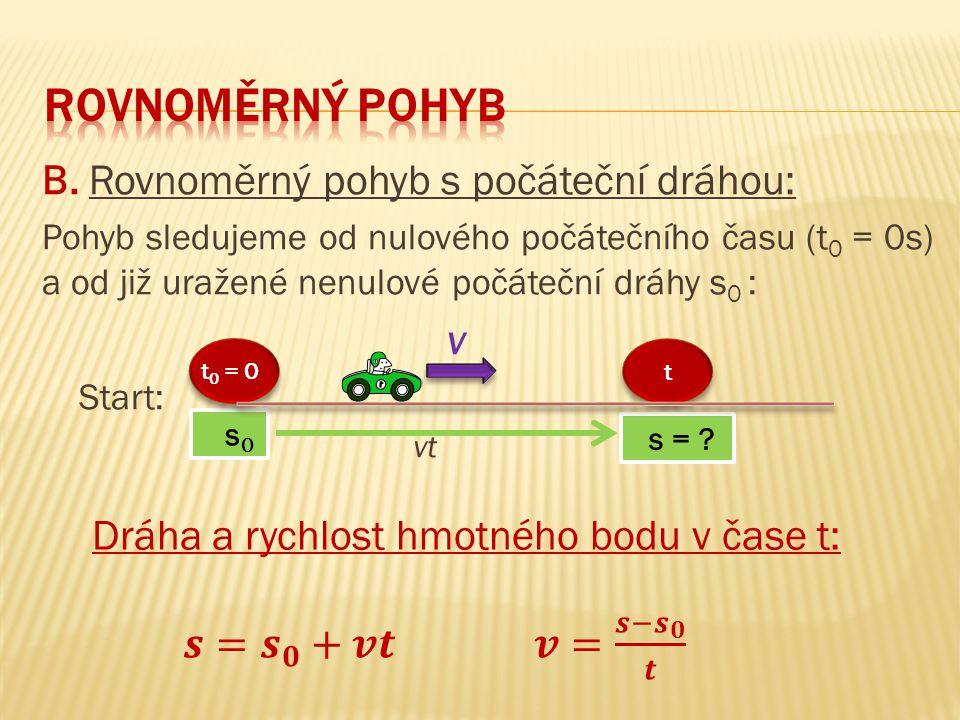 Rovnoměrný pohyb B. Rovnoměrný pohyb s počáteční dráhou: v