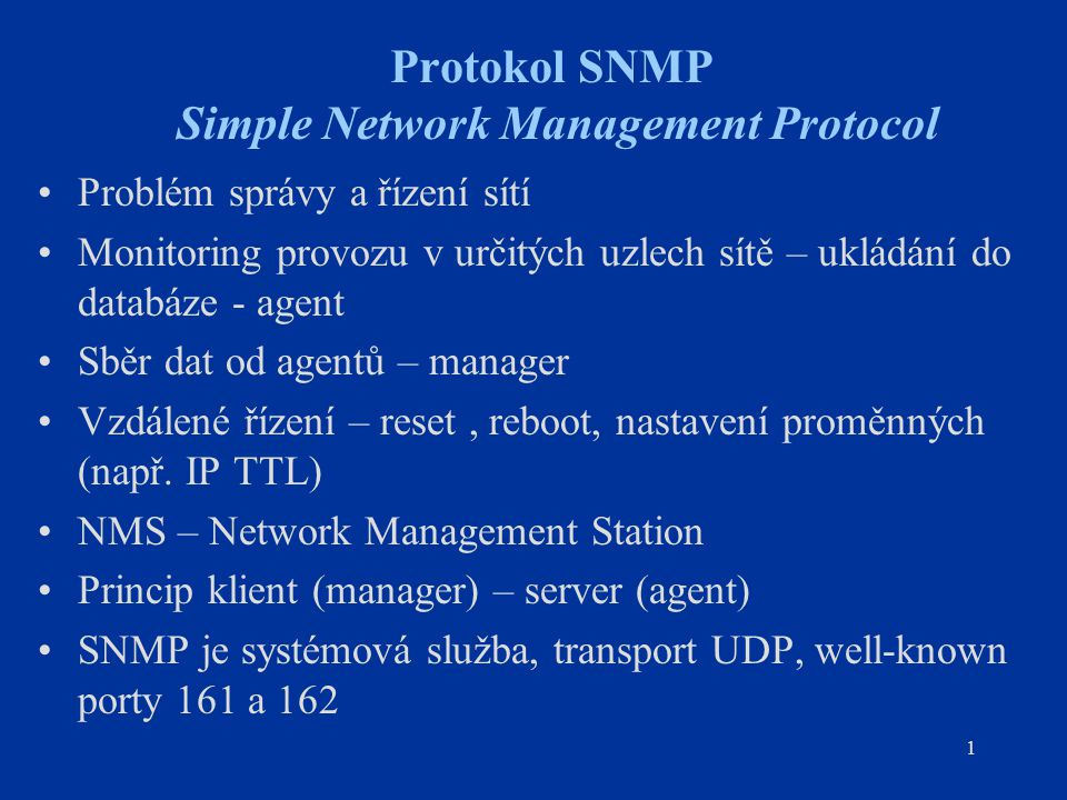 Protokol SNMP Simple Network Management Protocol