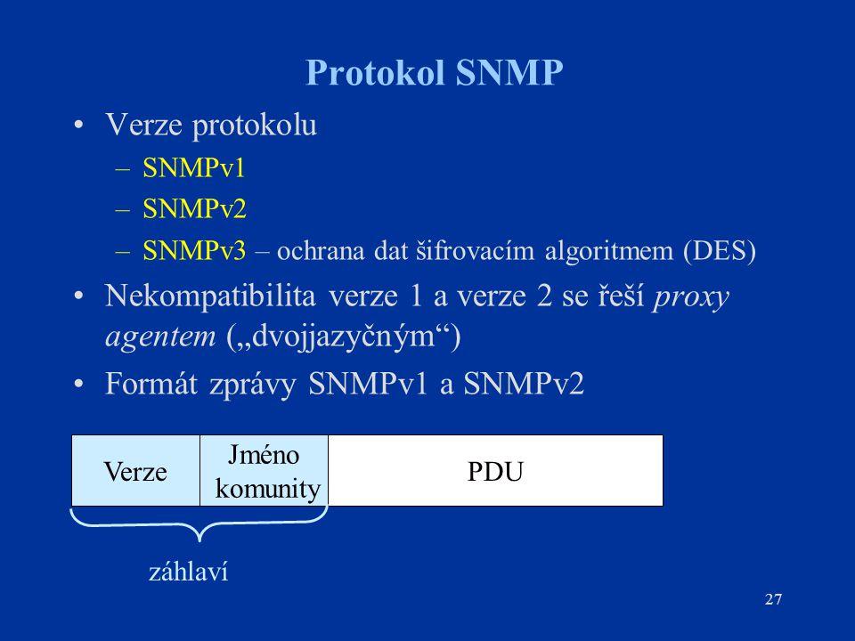 Protokol SNMP Verze protokolu