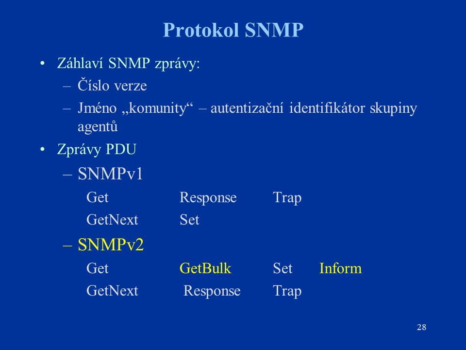 Protokol SNMP SNMPv1 SNMPv2 Záhlaví SNMP zprávy: Číslo verze