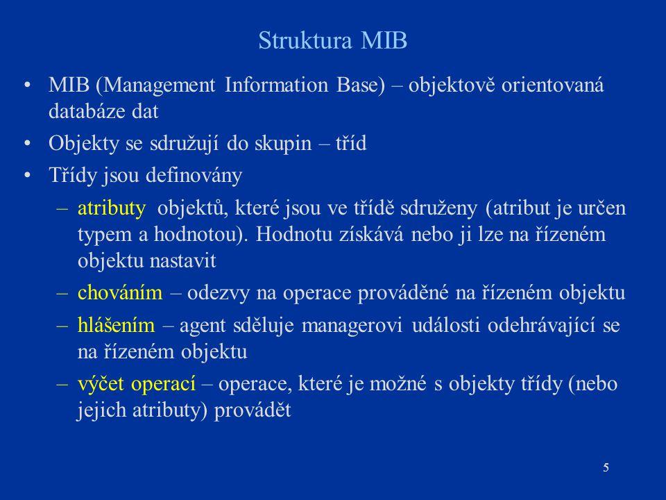 Struktura MIB MIB (Management Information Base) – objektově orientovaná databáze dat. Objekty se sdružují do skupin – tříd.