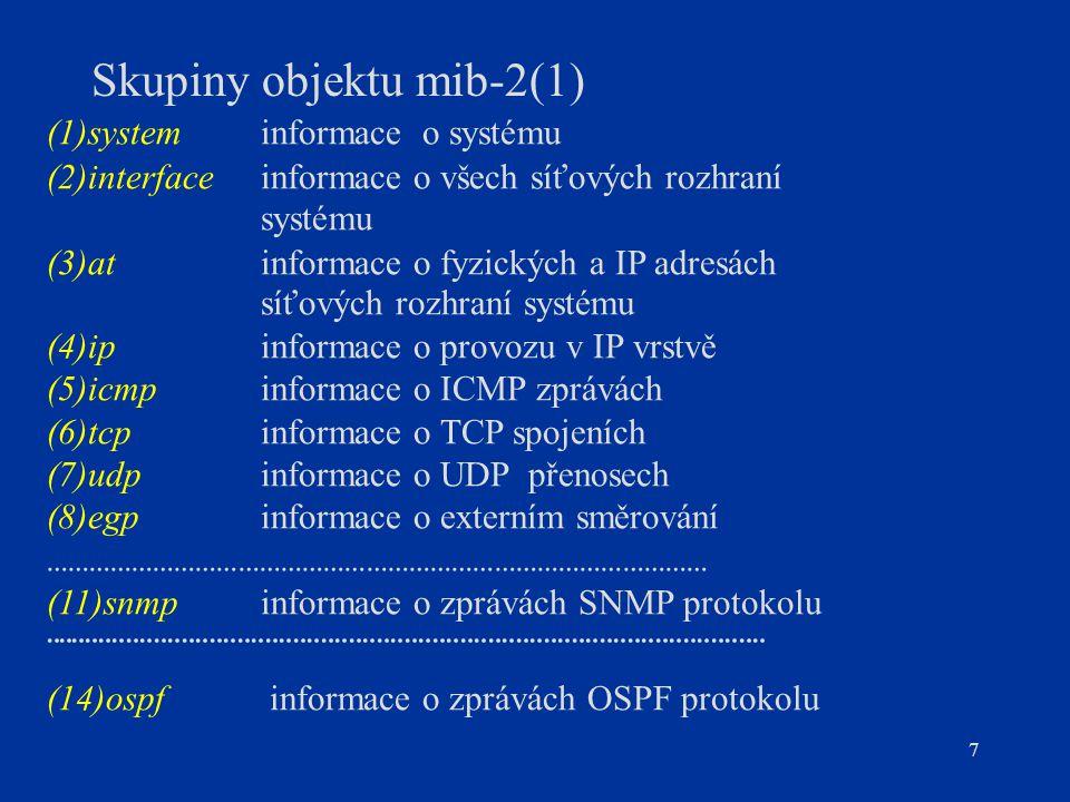 Skupiny objektu mib-2(1)