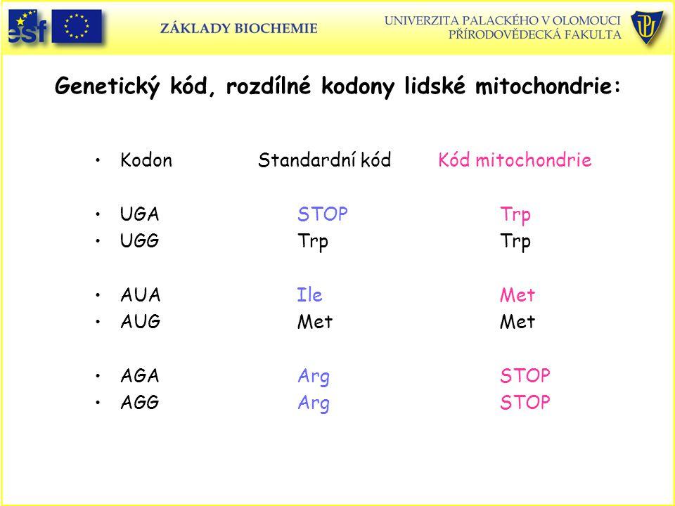 Genetický kód, rozdílné kodony lidské mitochondrie: