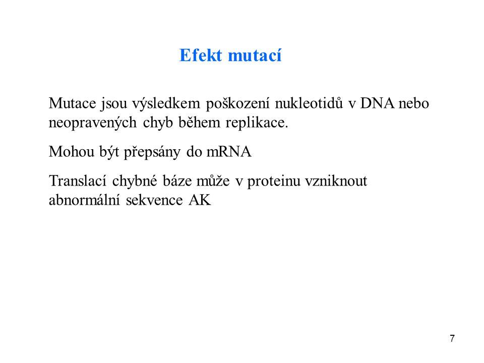 Efekt mutací Mutace jsou výsledkem poškození nukleotidů v DNA nebo neopravených chyb během replikace.