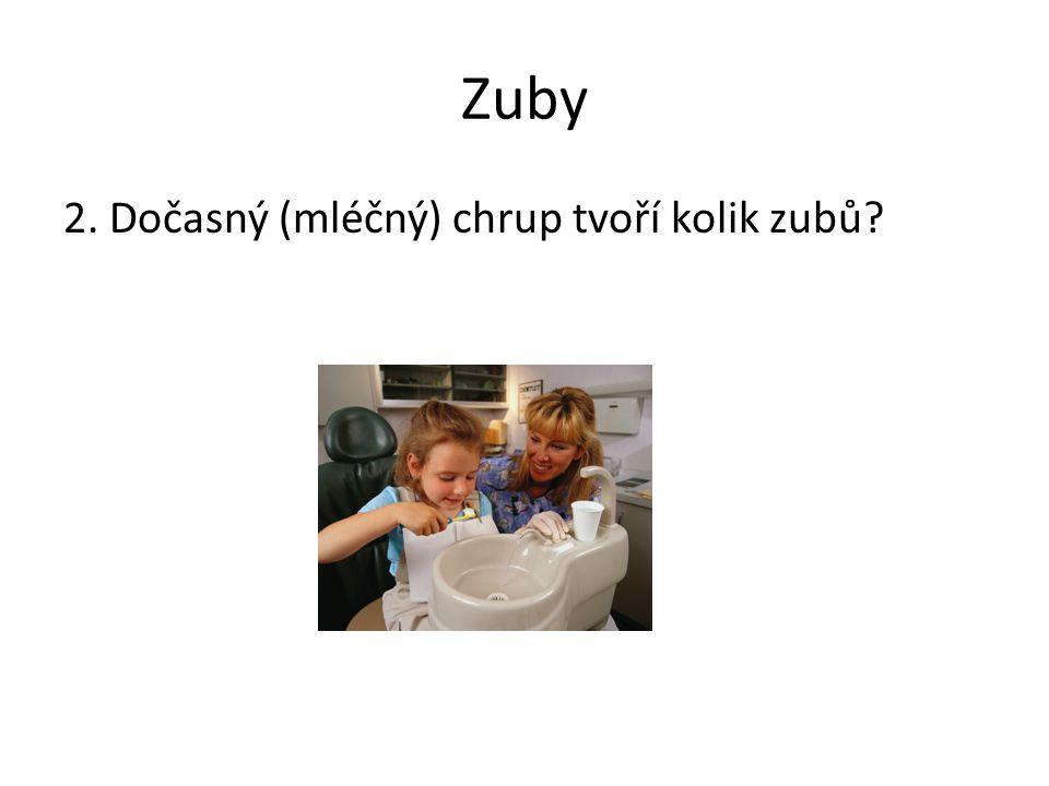 Zuby 2. Dočasný (mléčný) chrup tvoří kolik zubů Poznámky: