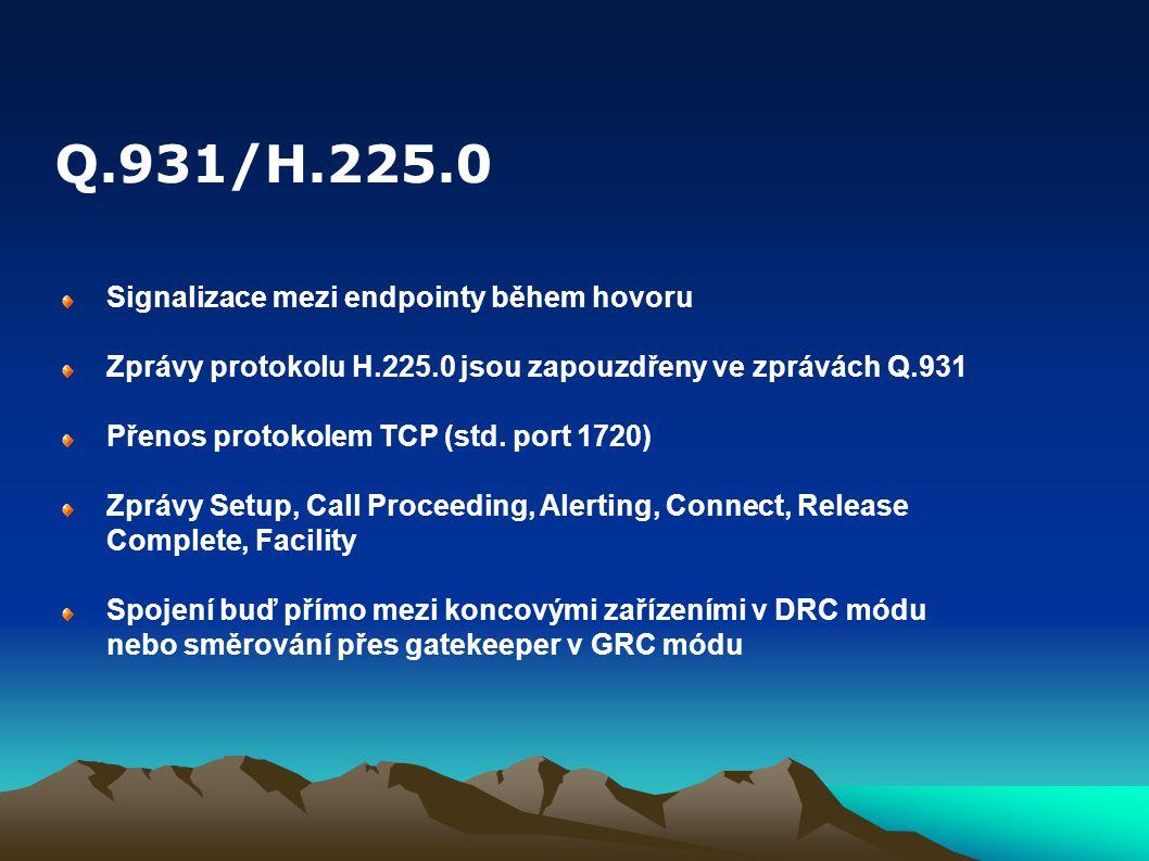Q.931/H.225.0 Signalizace mezi endpointy během hovoru