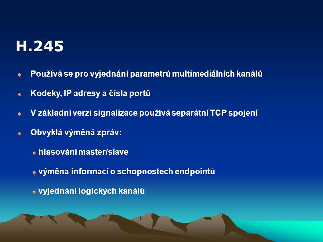 H.245 Používá se pro vyjednání parametrů multimediálních kanálů