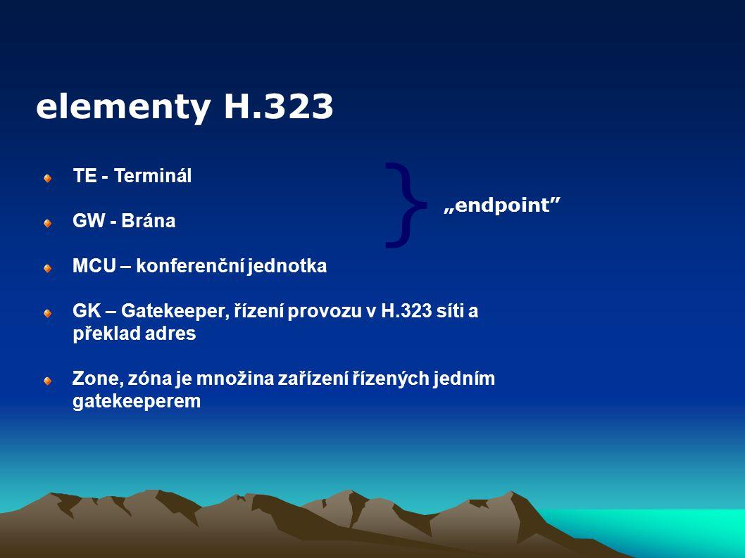 """} elementy H.323 TE - Terminál GW - Brána """"endpoint"""