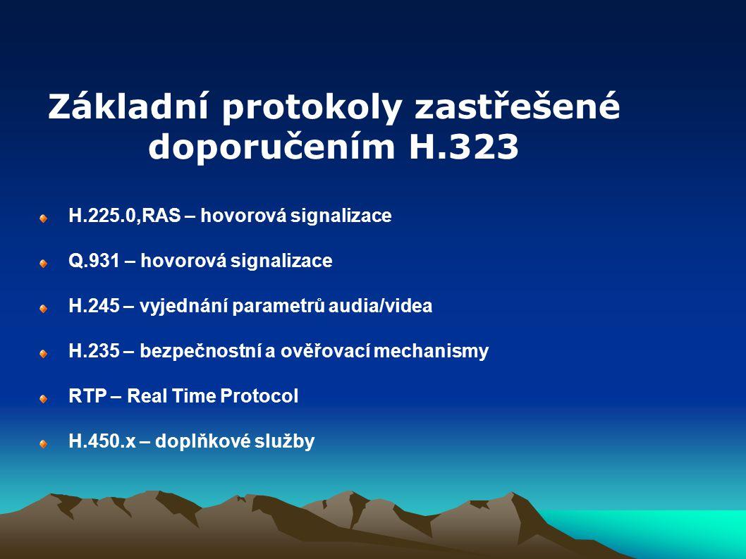 Základní protokoly zastřešené doporučením H.323
