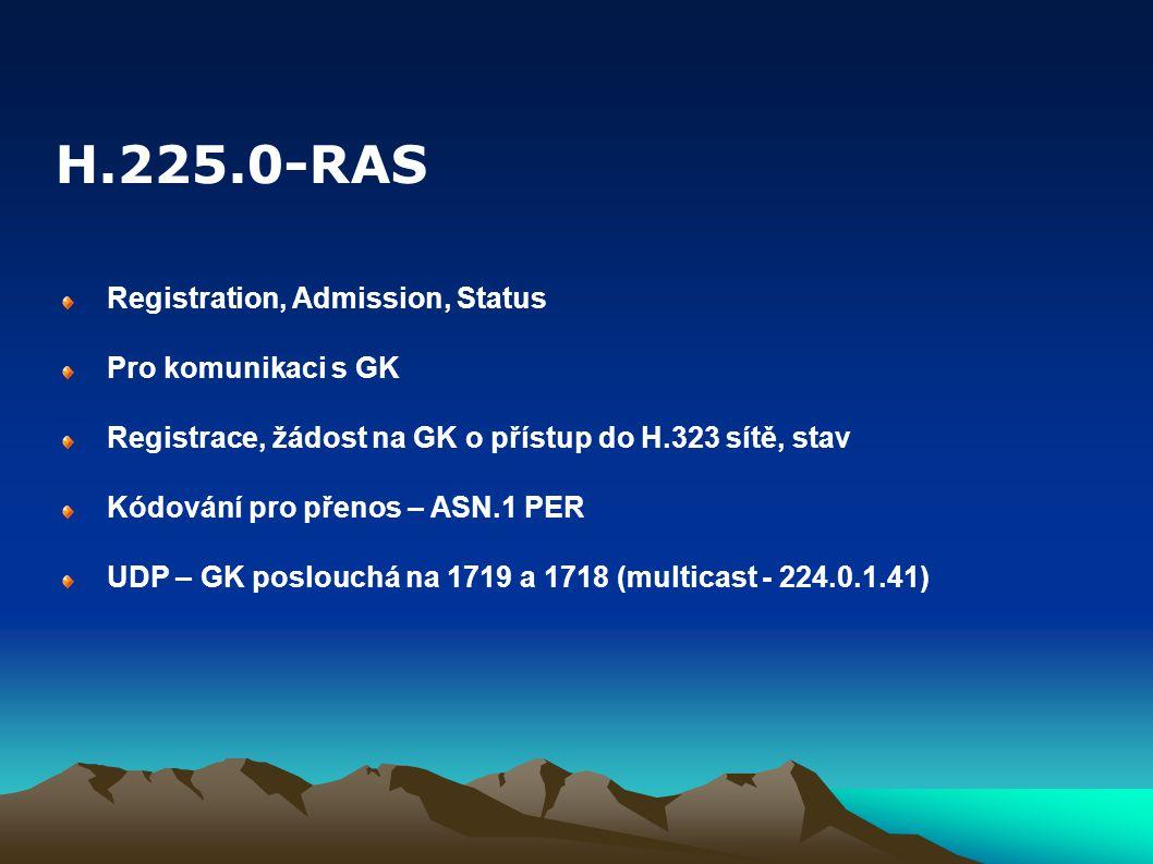 H.225.0-RAS Registration, Admission, Status Pro komunikaci s GK