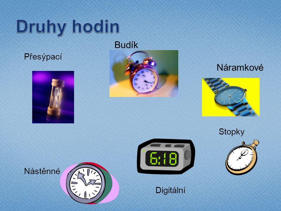 Druhy hodin Budík Přesýpací Náramkové Stopky Nástěnné Digitální