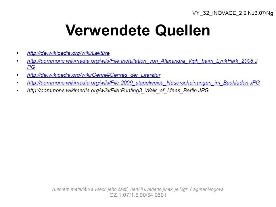 Verwendete Quellen VY_32_INOVACE_2.2.NJ3.07/Ng