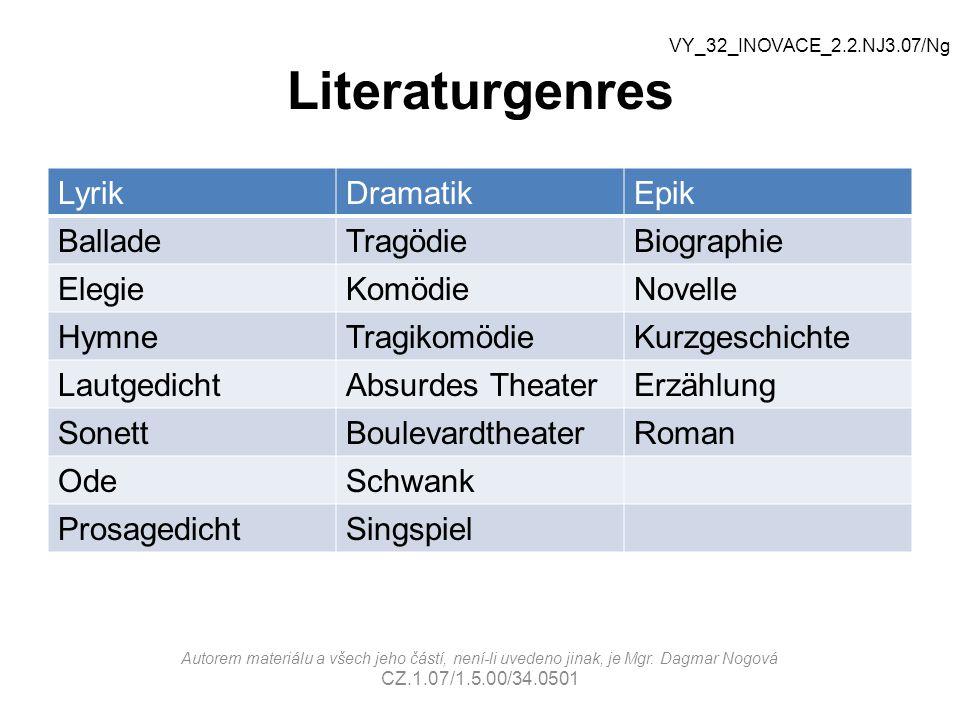 Literaturgenres Lyrik Dramatik Epik Ballade Tragödie Biographie Elegie