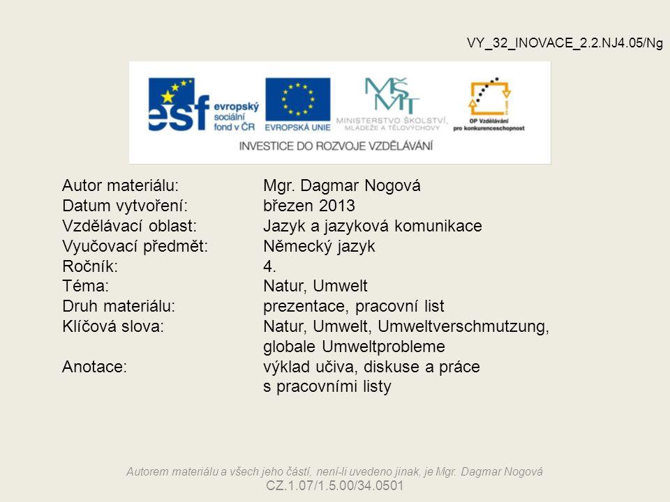 Autor materiálu: Mgr. Dagmar Nogová Datum vytvoření: březen 2013