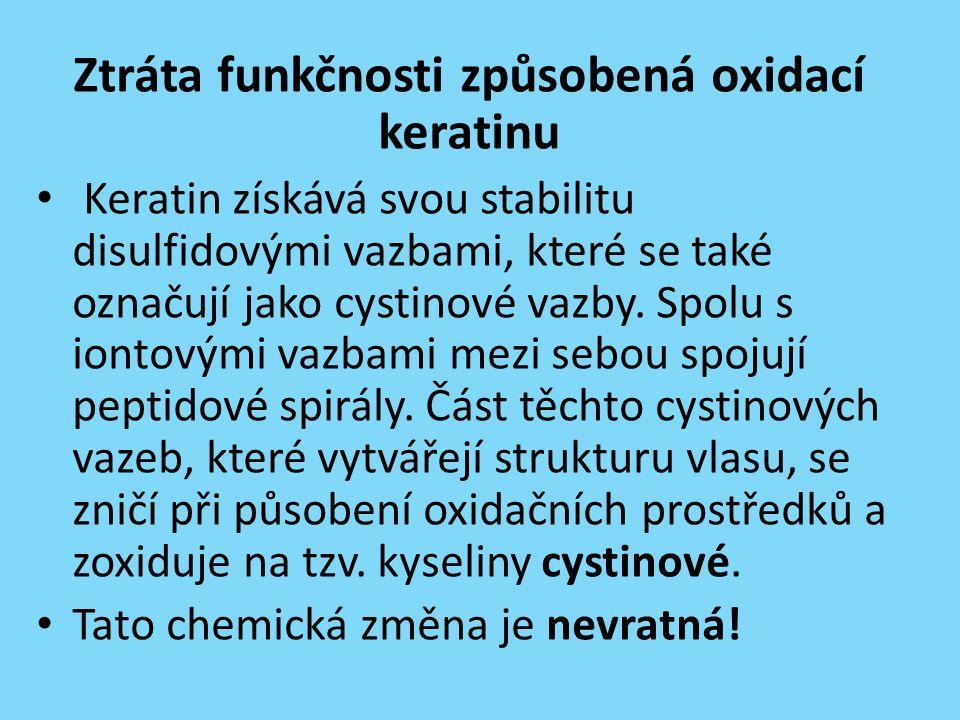 Ztráta funkčnosti způsobená oxidací keratinu