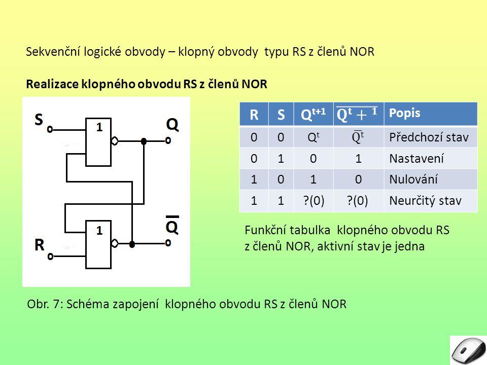 Sekvenční logické obvody – klopný obvody typu RS z členů NOR