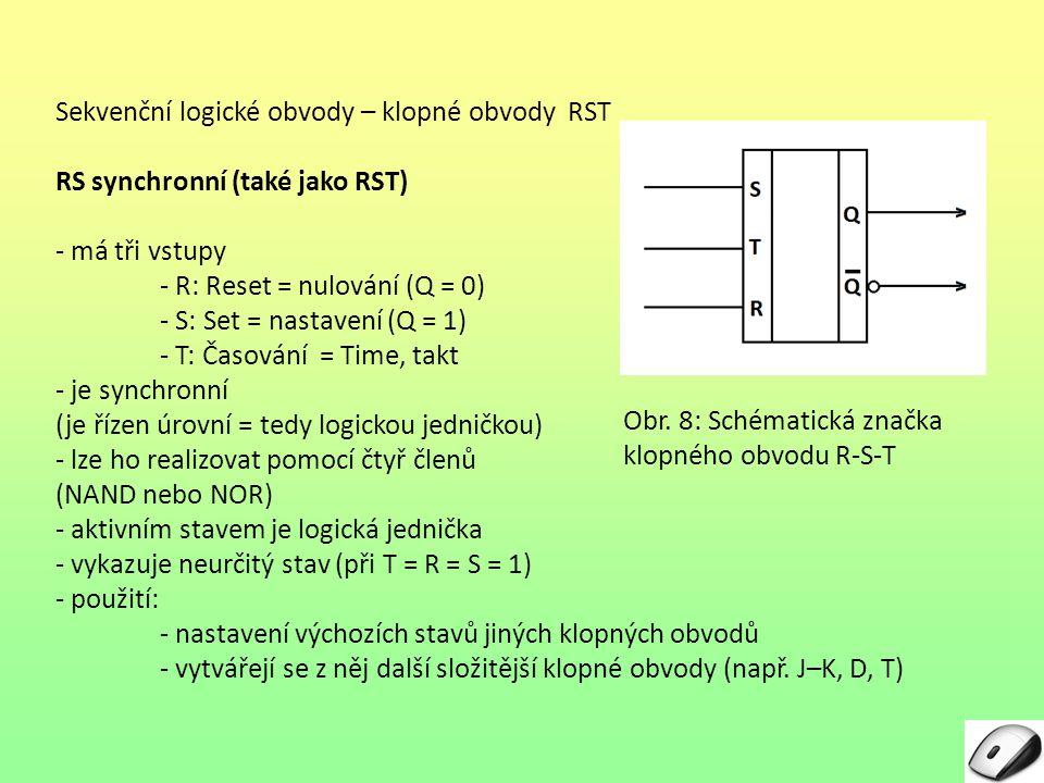 Sekvenční logické obvody – klopné obvody RST