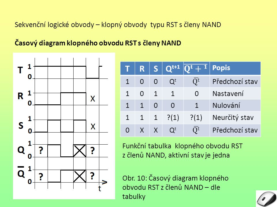 Sekvenční logické obvody – klopný obvody typu RST s členy NAND