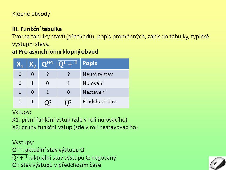 X1 X2 Qt+1 𝐐𝐭+𝟏 Qt Klopné obvody III. Funkční tabulka