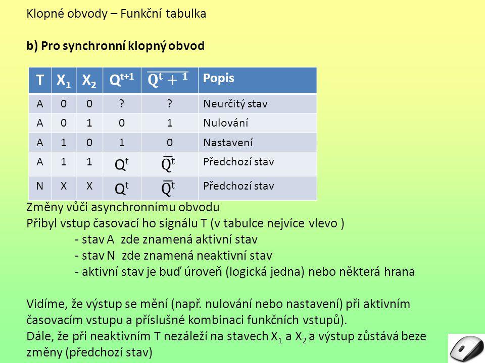 T X1 X2 Qt+1 𝐐𝐭+𝟏 Qt Klopné obvody – Funkční tabulka
