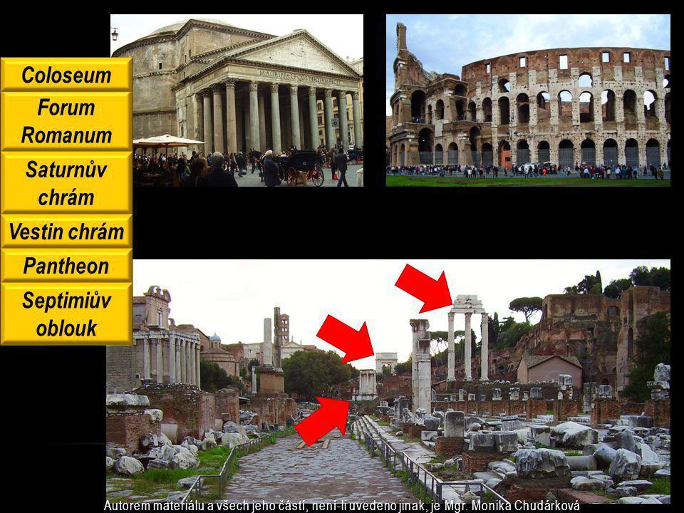 Coloseum Forum Romanum Saturnův chrám Vestin chrám Pantheon