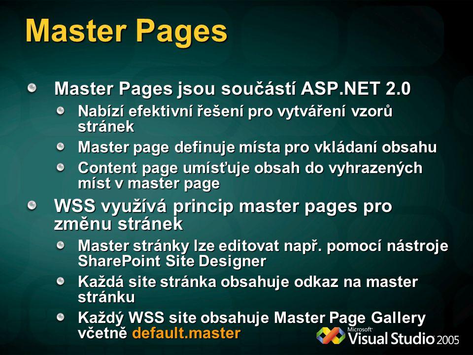 Master Pages Master Pages jsou součástí ASP.NET 2.0