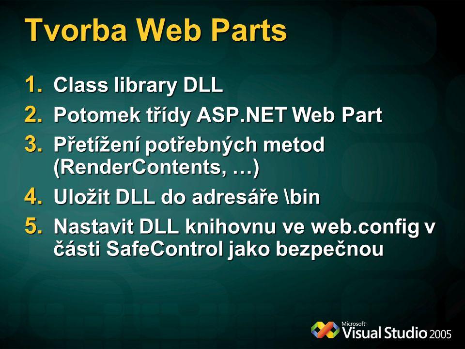 Tvorba Web Parts Class library DLL Potomek třídy ASP.NET Web Part
