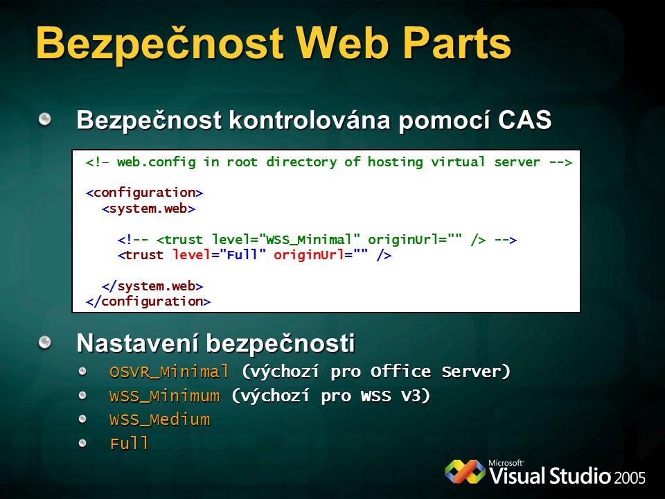 Bezpečnost Web Parts Bezpečnost kontrolována pomocí CAS