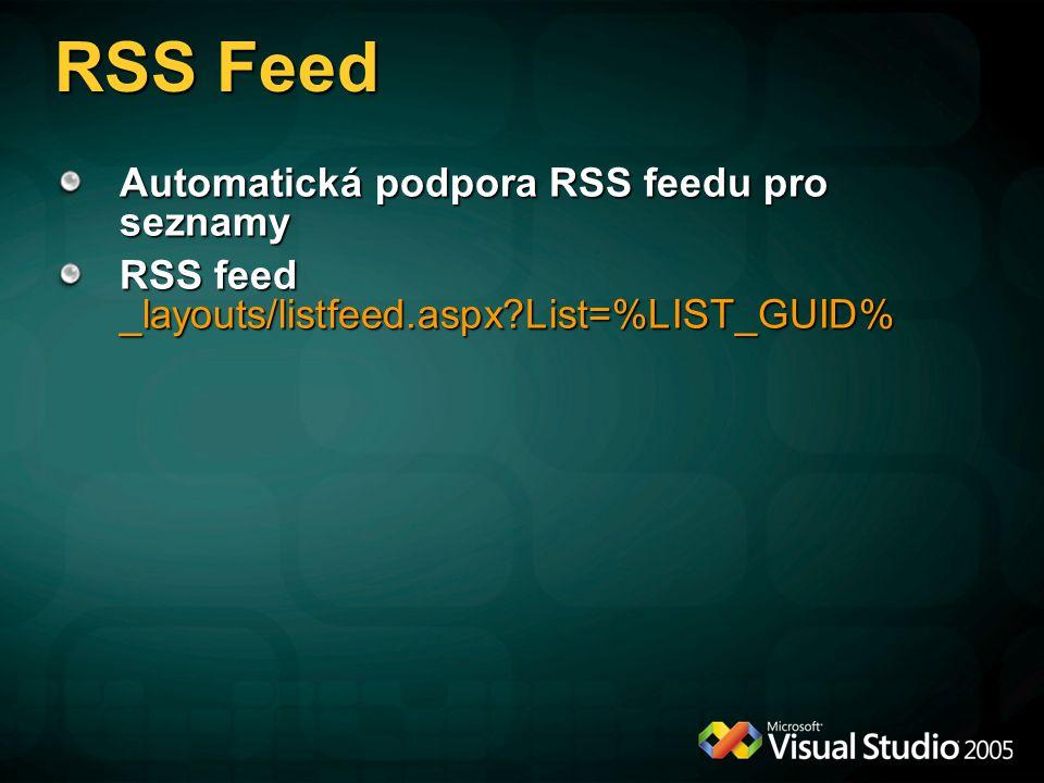 RSS Feed Automatická podpora RSS feedu pro seznamy