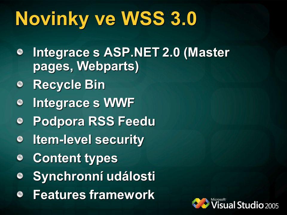 Novinky ve WSS 3.0 Integrace s ASP.NET 2.0 (Master pages, Webparts)