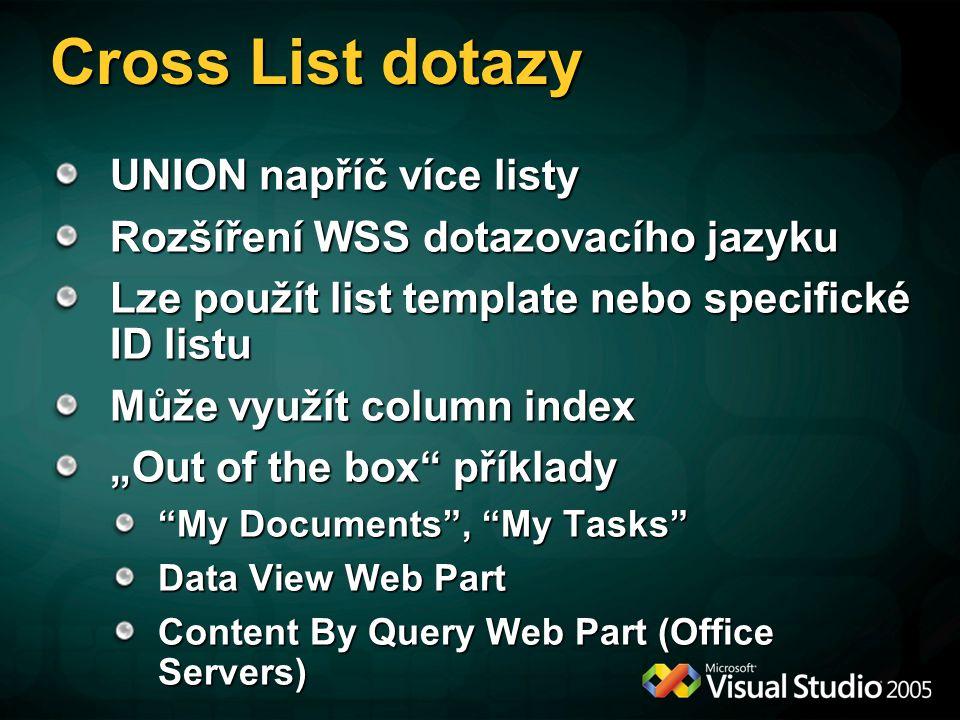 Cross List dotazy UNION napříč více listy