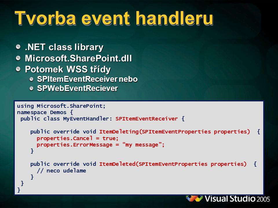 Tvorba event handleru .NET class library Microsoft.SharePoint.dll
