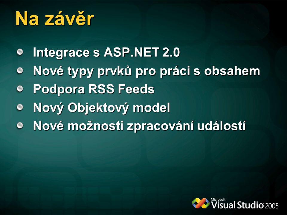 Na závěr Integrace s ASP.NET 2.0 Nové typy prvků pro práci s obsahem