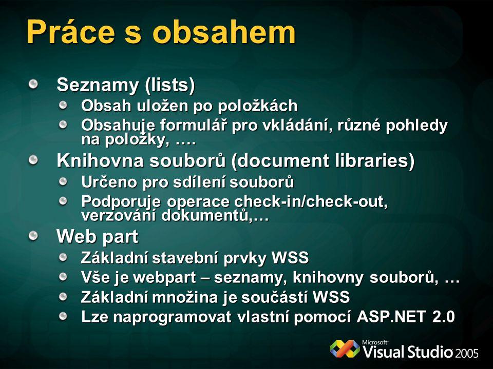 Práce s obsahem Seznamy (lists) Knihovna souborů (document libraries)