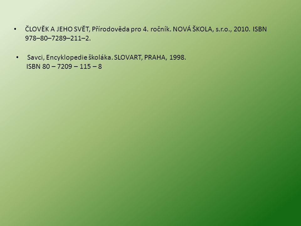 ČLOVĚK A JEHO SVĚT, Přírodověda pro 4. ročník. NOVÁ ŠKOLA, s. r. o
